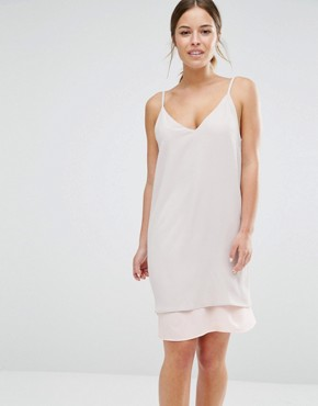 photo Colour Block Strappy Cami Slip Dress with Back Detail by Alter Petite, color Nude - Image 2