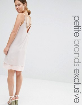 photo Colour Block Strappy Cami Slip Dress with Back Detail by Alter Petite, color Nude - Image 1