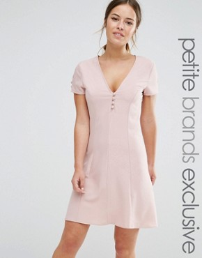 photo Button Front Short Sleeve Skater Dress by Alter Petite, color Blush - Image 1