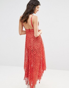 photo Rosemary Lace Midi Dress by For Love and Lemons, color Cherry - Image 2