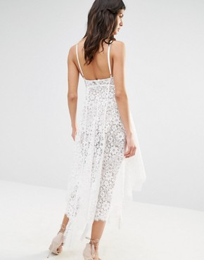 photo Rosemary Lace Midi Dress in Ivory by For Love and Lemons, color Ivory - Image 2