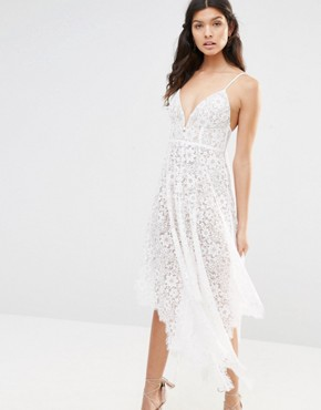 photo Rosemary Lace Midi Dress in Ivory by For Love and Lemons, color Ivory - Image 1