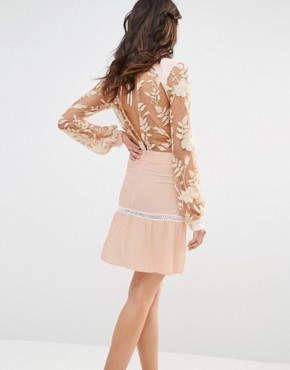 photo Emelia Embroidered Mini Dress by For Love and Lemons, color Dusty Pink - Image 2