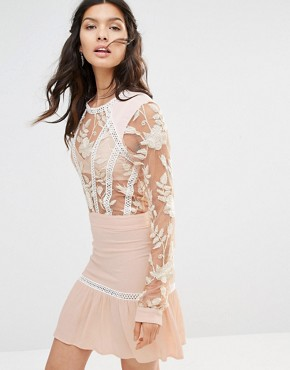 photo Emelia Embroidered Mini Dress by For Love and Lemons, color Dusty Pink - Image 1