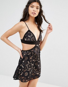 photo Sonya Strappy Lace Dress by For Love and Lemons, color Black - Image 1