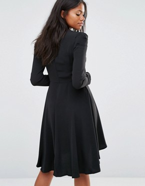photo Long Sleeve Skater Dress with Bow Detail by Amy Lynn, color Black - Image 2