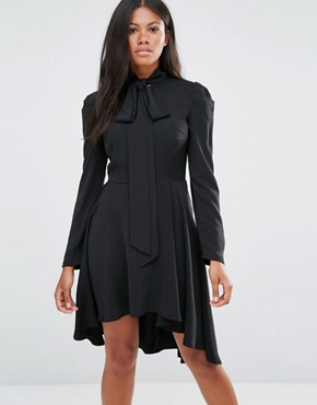 photo Long Sleeve Skater Dress with Bow Detail by Amy Lynn, color Black - Image 1