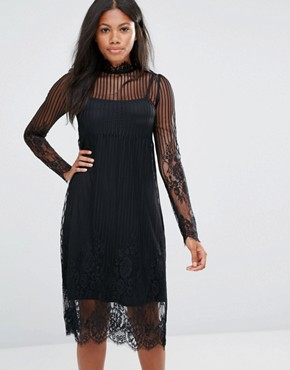 photo High Neck Lace Overlay Dress by Amy Lynn, color Black - Image 1