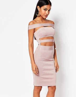 photo Off Shoulder Bandage Dress by WOW Couture, color Dusky Wineberry - Image 1