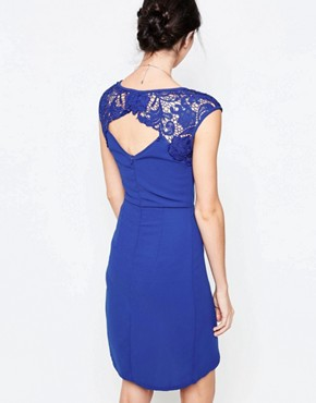 photo Wrap Dress with Lace Detail by Jasmine, color Blue - Image 2