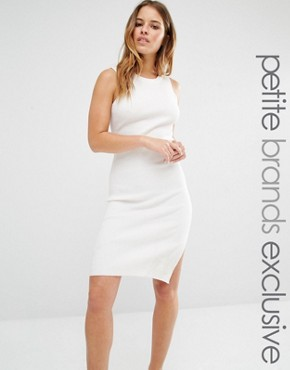 photo Knitted Mini Dress with Keyhole Back Detail by Noisy May Petite, color White - Image 1