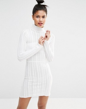 photo High Neck Knitted Dress by Sonia by Sonia Rykiel, color Ecru - Image 1