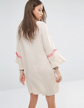 photo Folk Embroidered Kaftan Dress by Liquor & Poker Tall, color Cream - Image 2