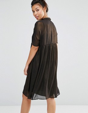 photo Shimmer Shirt Dress by The WhitePepper, color Gold - Image 2