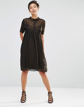 photo Shimmer Shirt Dress by The WhitePepper, color Gold - Image 1