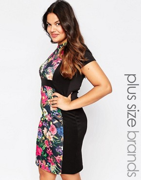 photo Illusion Dress with Floral Panel by Praslin Plus, color Black - Image 1