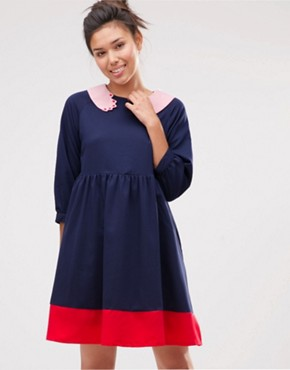 photo Hand Collar Smock Dress by The WhitePepper, color Navy Red Pink - Image 1