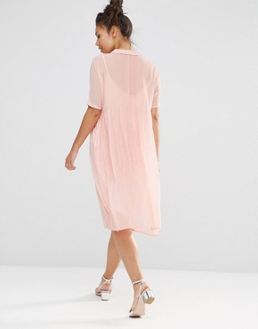 photo Shimmer Shirt Dress by The WhitePepper, color Pink - Image 2