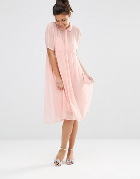 photo Shimmer Shirt Dress by The WhitePepper, color Pink - Image 1