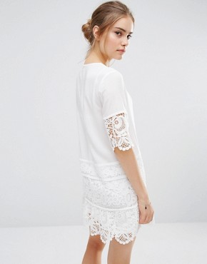 photo Lace Insert Mini Dress by Endless Rose, color Off White - Image 2