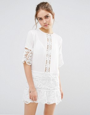 photo Lace Insert Mini Dress by Endless Rose, color Off White - Image 1