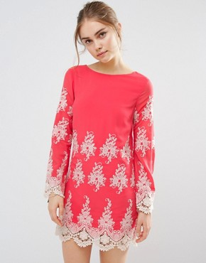 photo Lace Long Sleeve Mini Dress by Endless Rose, color Coral/Cream - Image 2