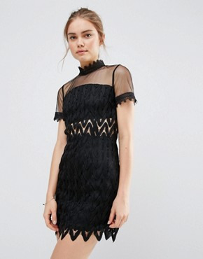 photo Lace High Neck Mini Dress by Endless Rose, color Black - Image 1