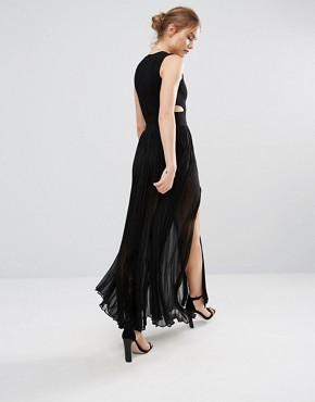 photo Pleated Cut Out Maxi Dress by Endless Rose, color Black - Image 2