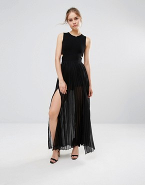 photo Pleated Cut Out Maxi Dress by Endless Rose, color Black - Image 1