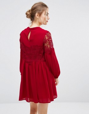 photo Lace Long Sleeve Dress by Endless Rose, color Berry Red - Image 2