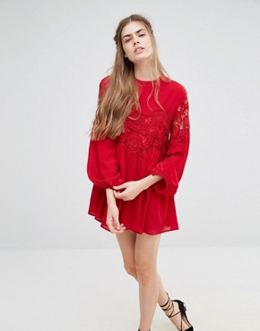 photo Lace Long Sleeve Dress by Endless Rose, color Berry Red - Image 1