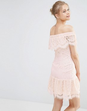 photo Lace Off The Shoulder Dress by Endless Rose, color Nude Pink - Image 2