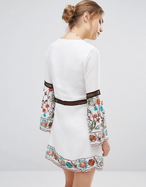 photo Embroidered Long Sleeve Dress by Endless Rose, color White Combo - Image 2