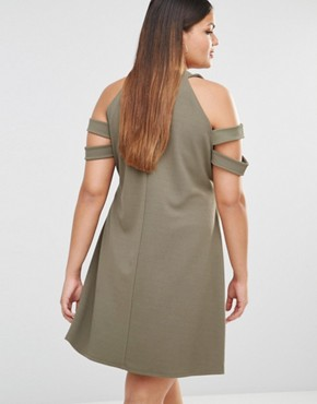 Bodycon Dress With Cold Shoulder - Khaki Pink Clove AElg5