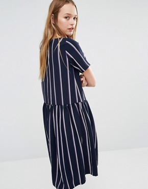photo Oversized Smock Dress with Drop Waist in Stripe by I Love Friday, color Navy - Image 2