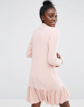 photo High Neck Dress with Peplum Skirt in Rib by I Love Friday, color Pink - Image 2