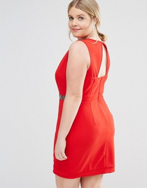 photo Plunge Front Bodycon Dress with Waist Embellishment by Little Mistress Plus, color Red - Image 2