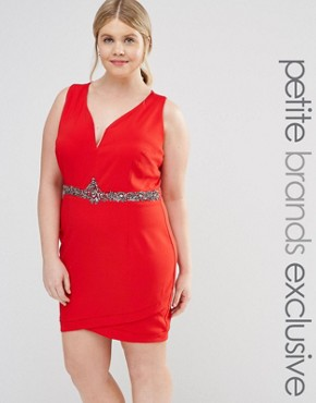 photo Plunge Front Bodycon Dress with Waist Embellishment by Little Mistress Plus, color Red - Image 1
