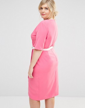 photo 1/2 Sleeve Wrap Front Pencil Dress with Belt by Paper Dolls Plus, color Pink - Image 2