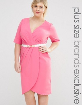 photo 1/2 Sleeve Wrap Front Pencil Dress with Belt by Paper Dolls Plus, color Pink - Image 1