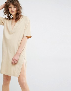 photo Sami V-Neck Safari Dress by Samsoe & Samsoe, color Beige - Image 1