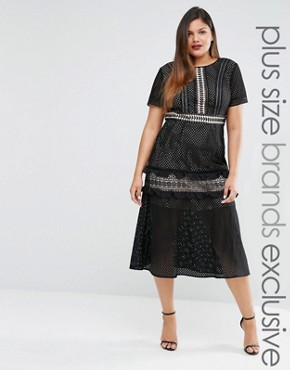 photo Tiered Premium Lace Midi Dress by Truly You, color Black - Image 1