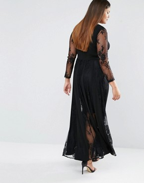 photo Lace Pleated Maxi Dress by Truly You, color Black - Image 2
