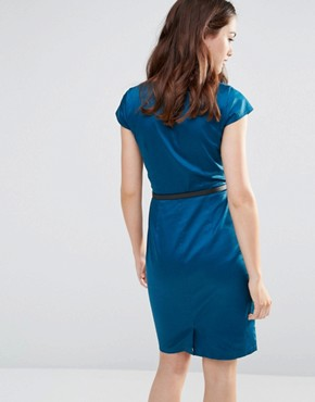 photo Agatha Cap Sleeve Shift Dress by Sugarhill Boutique, color Teal - Image 2