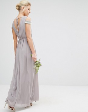 photo Cold Shoulder Wrap Front Maxi Dress by TFNC Petite WEDDING, color Opal Gray - Image 2