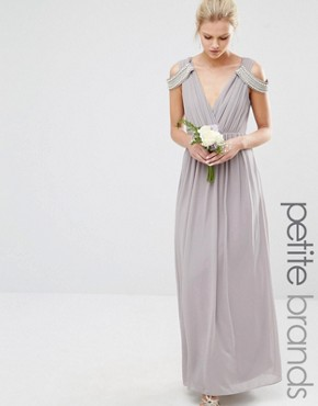photo Cold Shoulder Wrap Front Maxi Dress by TFNC Petite WEDDING, color Opal Gray - Image 1
