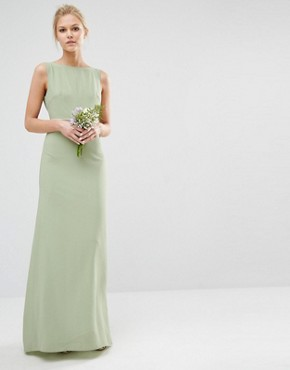 photo Sateen Bow Back Maxi Dress by TFNC Petite WEDDING, color Laurel Green - Image 2