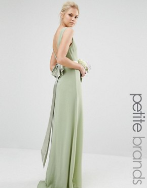 photo Sateen Bow Back Maxi Dress by TFNC Petite WEDDING, color Laurel Green - Image 1