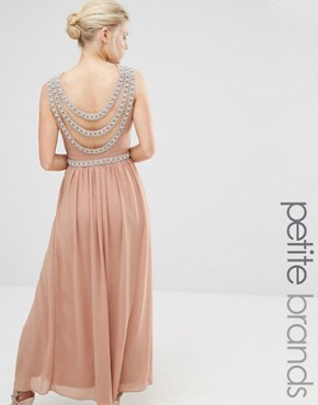 photo Embellished Back Detail Maxi Dress by TFNC Petite WEDDING, color Brush - Image 1