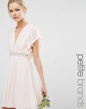 photo Fluted Sleeve Embellished Waist Mini Dress by TFNC Petite WEDDING, color Peach Blush - Image 1